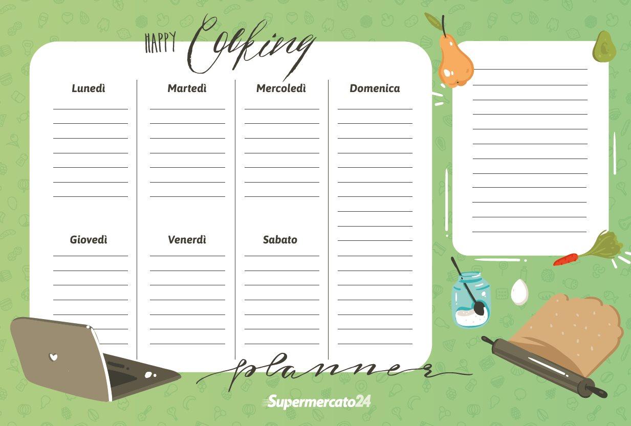 Menù settimanale e lista della spesa da stampare
